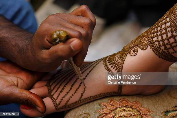 Mehendi or henna ceremony, before an Indian wedding.