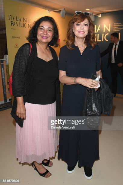 Meher Tatna and Susan Sarandon attend the 'Hollywood Foreign Press Association Cocktail Party' during the 74th Venice Film Festival on September 2...