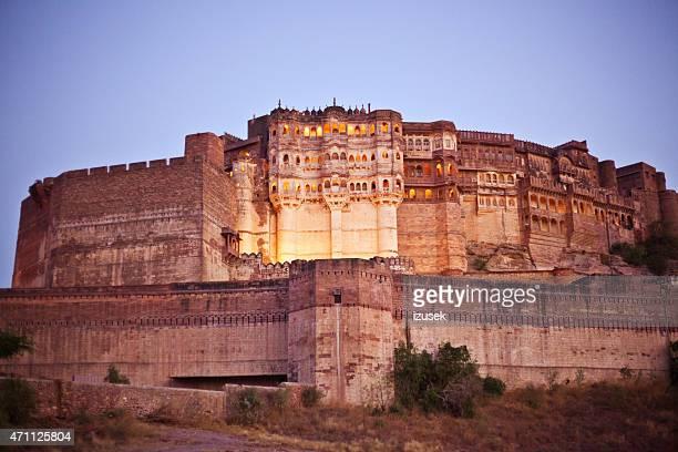 meherangarh fort at sunset, jodhpur, india - meherangarh fort stock photos and pictures