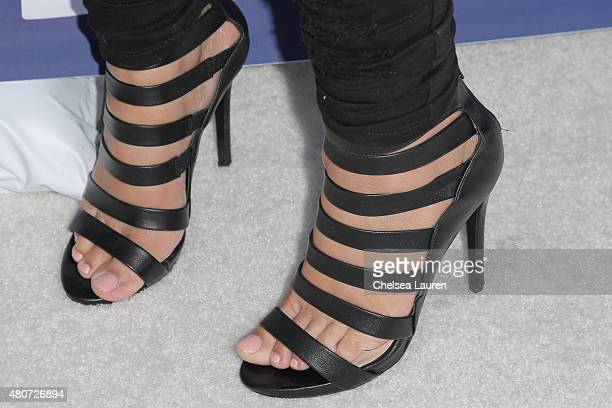 Mehgan James shoe detail attends the WE tv's LA Hair Season 4 Premiere Party at Avalon Hollywood on July 14 2015 in Los Angeles California