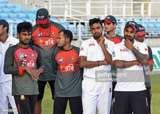 Mehidy Hasan Miraz Mushfiqur Rahim Abu Jayed and Liton Das of Bangladesh at the end of day 3 of the 2nd Test between West Indies and Bangladesh at...