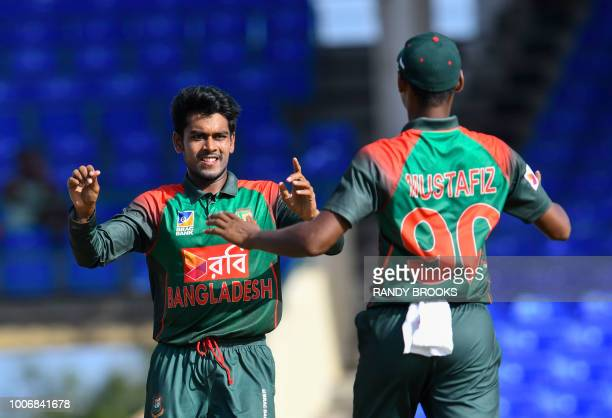 Mehidy Hasan Miraz of Bangladesh celebrates the dismissal of Shimron Hetmyer of West Indies during the 3rd and final ODI match between West Indies...
