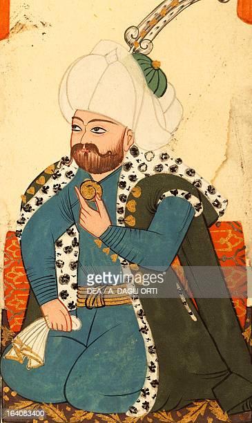 Mehmed II or Sultan Mehmed the Conqueror Sultan of the Ottoman Empire miniature from Foggie diverse et vestire de Turchi 17th century Venice...
