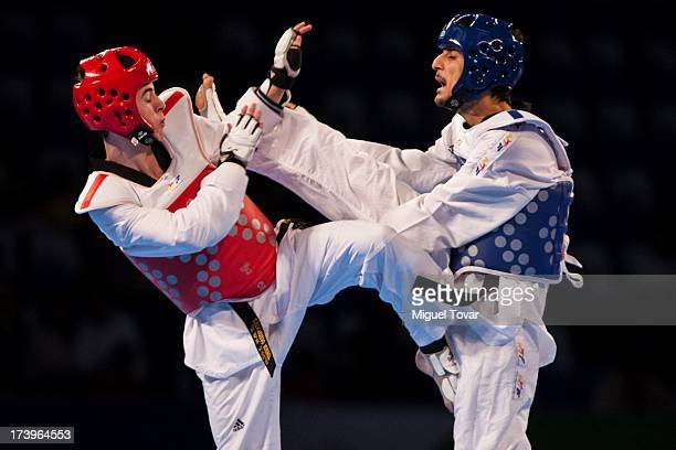 Mehmel Dolas of Tuekey competes against Edi Serbanescu of Israel during a Men's 54 kg combat of WTF World Taekwondo Championships 2013 at the...
