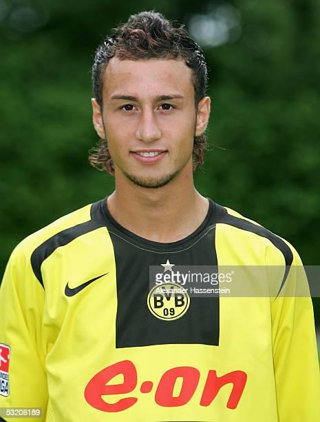 Mehmet Akgn poses during the team presentation of Borussia Dortmund for the Bundesliga season 2005 2006 on July 6 2005 in Gottingen Germany