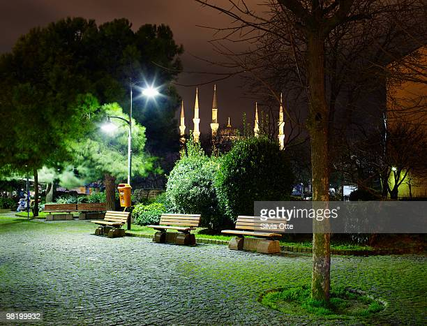 Mehmet Akif Ersoy Park at night with Blue Mosque