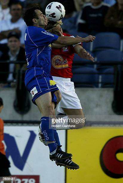 Mehmet Durakovic of South Melbourne challenges Brendon Santalab of United during the round 19 NSL match between the South Melbourne and Sydney United...