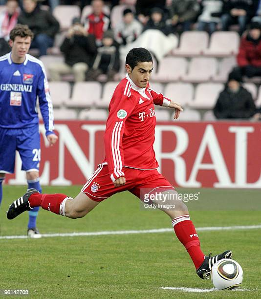 Mehmet Ekici of Bayern II shooting the 01 during the 3Liga match between SpVgg Unterhaching and Bayern Muenchen II at the Generali Sportpark on...
