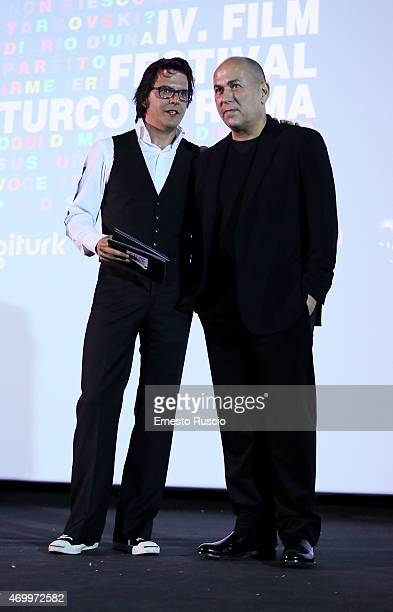 Mehmet Gunsur and Ferzan Ozpetek attend the Turkish Film Festival of Rome at Cinema Barberini on April 16 2015 in Rome Italy