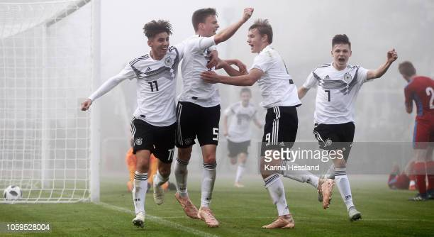 Mehmet Ibrahimi David Ludwig Lelle Lasse Guenther and Winzent Suchanek of Germany celebrate the second goal during the international friendly U16...