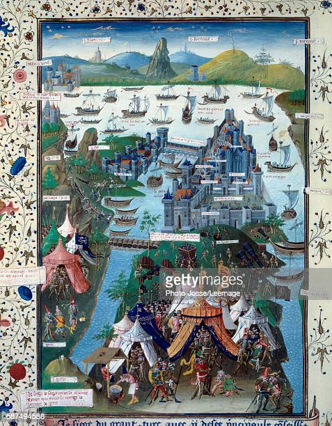The last siege of Constantinople by the Ottomans troops of Mehmet II 1453 Miniature from the manuscript Voyage en la terre d'outremer of Bertrandon...