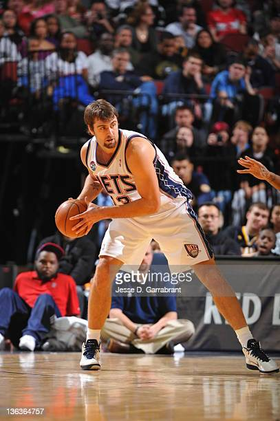 Mehmet Okur of the New Jersey Nets posts up against the Indiana Pacers during the game on January 2 2012 at the Prudential Center in Newark New...