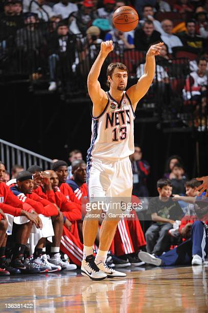 Mehmet Okur of the New Jersey Nets throws the basketball inbounds during the game against the Atlanta Hawks on December 27 2011 at the Prudential...