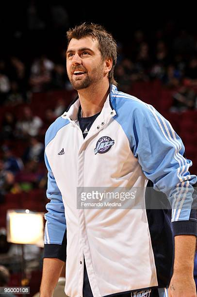 Mehmet Okur of the Utah Jazz smiles during the game against the Orlando Magic on December 21 2009 at Amway Arena in Orlando Florida NOTE TO USER User...