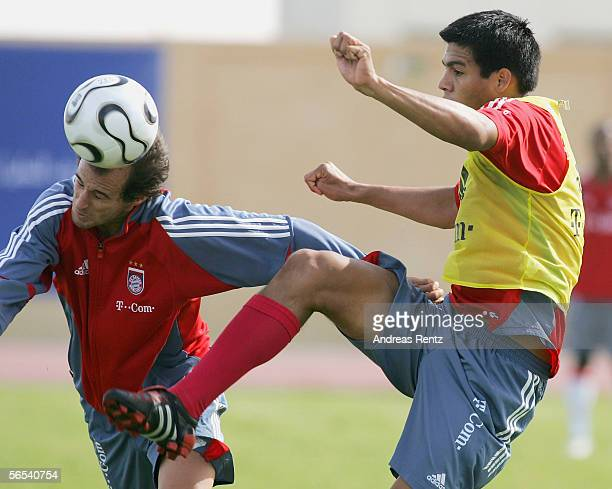 Mehmet Scholl and Julio Dos Santos battle for ball during the Bayern Munich training camp on January 8 2006 in Dubai United Arab Emirates
