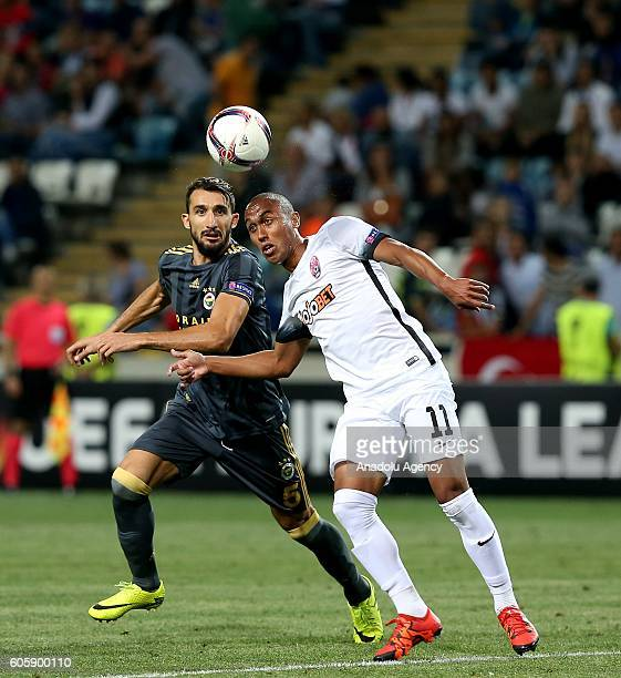 Mehmet Topal of Fenerbahce in action during the UEFA Europa League Group A match between FC Zorya Luhansk and Fenerbahce at Chornomorets Stadium in...