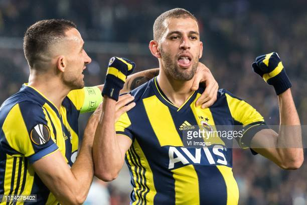 Mehmet Topal of Fenerbahce SK Islam Slimani of Fenerbahce SK during the UEFA Europa League round of 32 match between Fenerbahce AS and FK Zenit St...