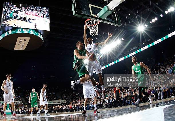 Mehmet Yagmur #4 of Darussafaka Dogus Istanbul in action during the 20152016 Turkish Airlines Euroleague Basketball Top 16 Round 10 game between...