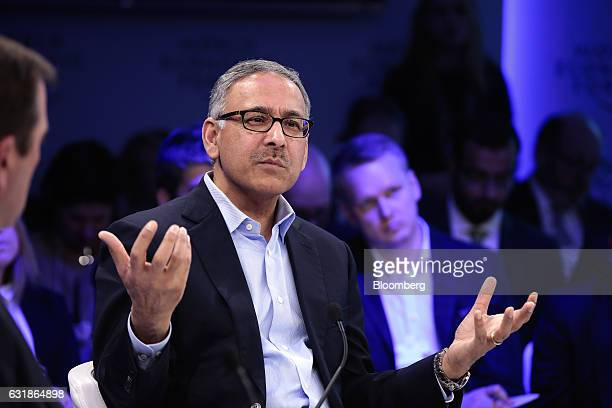 Mehmood Khan covice chairman of PepsiCo Inc gestures as he speaks during a panel session at the World Economic Forum in Davos Switzerland on Tuesday...