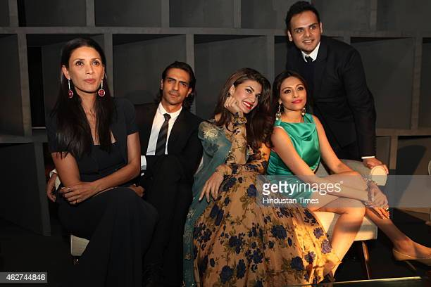 Mehr Jesia Rampal actor Arjun Rampal actor Jacqueline Fernandez Kalyani Saha Chawla and Ashiesh Shah during India Art Fair closing party at Le...