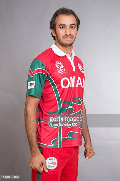 Mehran Khan of Oman poses during the official photocall for the ICC Twenty20 World on March 2 2016 in Mohali India