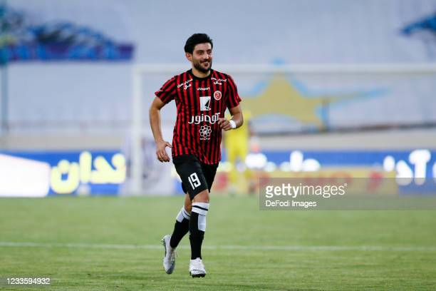 Mehrdad Bairami of Padideh looks on during the Persian Gulf Pro League match between Esteghlal and Padideh FC at Azadi Stadium on June 21, 2021 in...