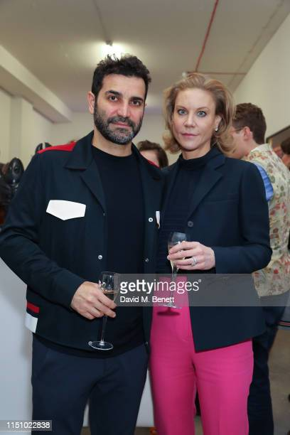 Mehrdad Ghodoussi and Amanda Staveley at the Animal Ball Art Show Private Viewing presented by Elephant Family on May 22 2019 in London England