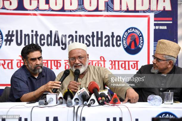 Mehruddin, the brother of Samayuddin, who was critically injured in the incident speaks before media at Press Club of India, on June 22, 2018 in New...