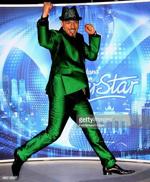Mehrzad Marashi celebrates after winning the contest 'DSDS Deutschland Sucht Den Superstar' final show on April 17 2010 in Cologne Germany