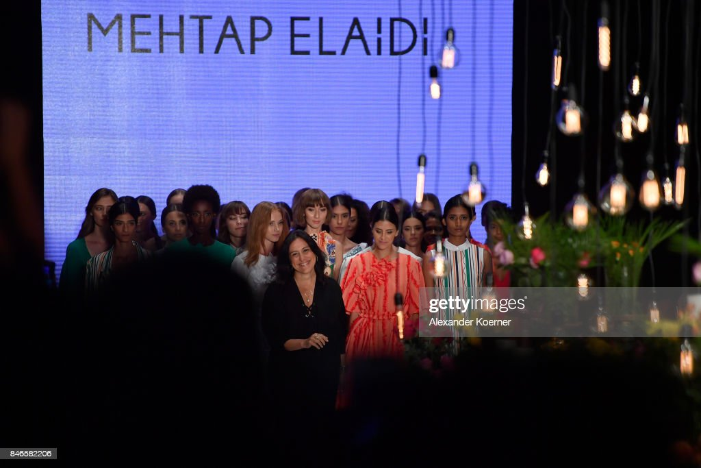 Mehtap Elaidi and models are applauded on the runway at the Mehtap Elaidi show during Mercedes-Benz Istanbul Fashion Week September 2017 at Zorlu Center on September 13, 2017 in Istanbul, Turkey.