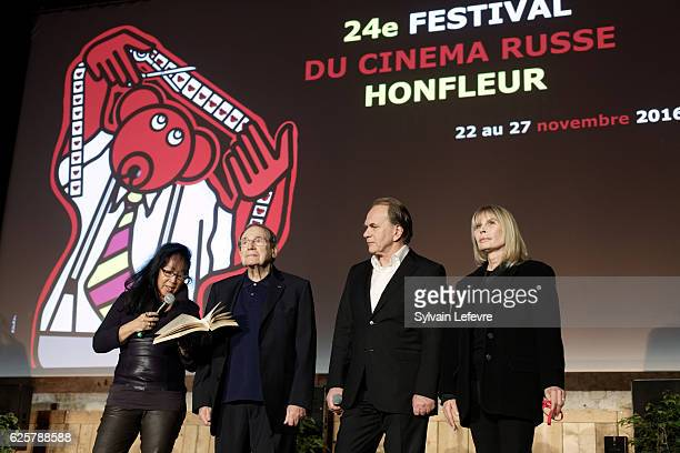 Mei Chen Chalais Robert Hossein Aleksei Guskov and Candice Patou attend the tribute to Robert Hossein during Russian Film Festival on November 25...