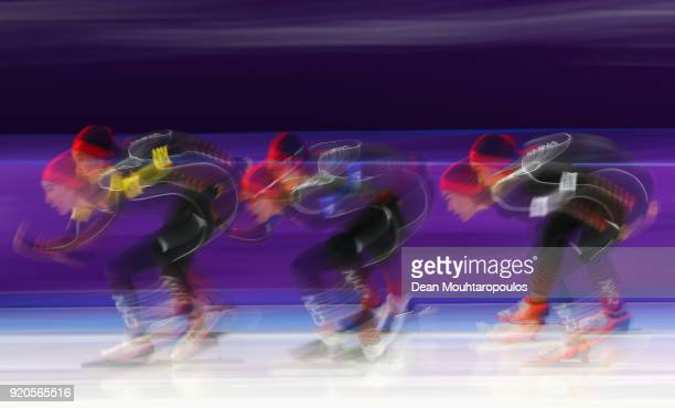 Mei Han, Jiachen Hao and Dan Li of China competes during the Ladies' Team Pursuit Speed Skating Quarterfinals on day 10 of the PyeongChang 2018...