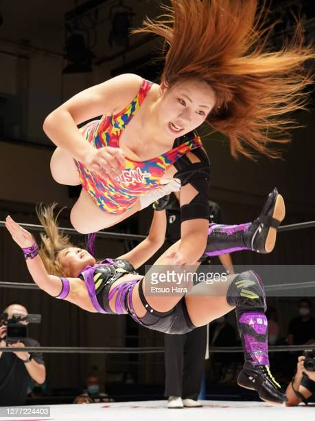 Mei Hoshizuki and AZM compete during the Women's ProWrestling 'Stardom' at Korakuen Hall on September 28 2020 in Tokyo Japan