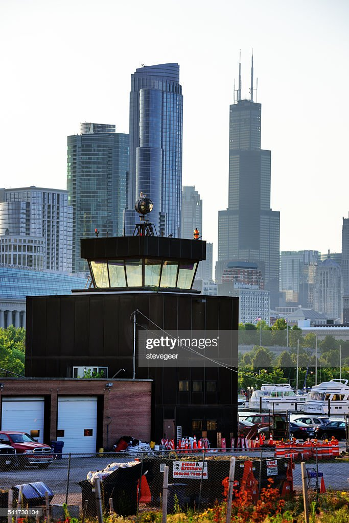A few buildings from Meigs Fields airport in Chicago remain visible or re-used as part of a new park development on Northerly Island