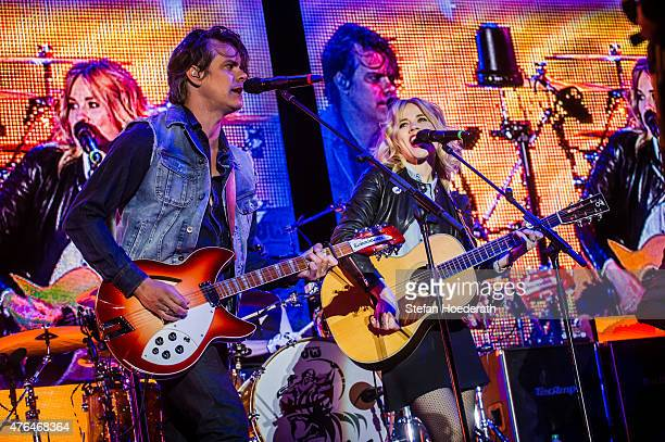 JB Meijers and Ilse DeLange of The Common Linnets perform live on stage as guests during a concert of Peter Maffay at Kindl Buehne Wuhlheide on June...
