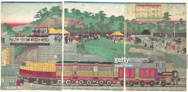 Meiji period circa 1873 Japan Triptych of polychrome woodblock prints ink and color on paper 142 x 291 in Prints Utagawa Kuniteru