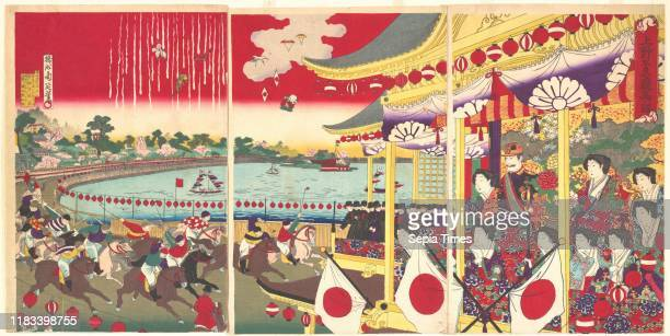 Meiji period Japan Triptych of polychrome woodblock prints ink and color on paper Image 14 1/2 _ 29 5/8 in Prints Yosh_ Chikanobu