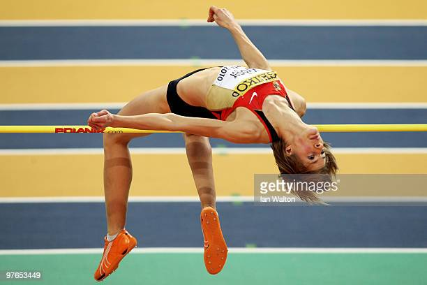 Meike Kroger of Germany competes in the Womens High Jump Qualification during Day 1 of the IAAF World Indoor Championships at the Aspire Dome on...