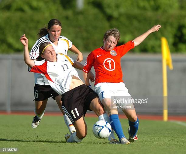 Meike Weber and Juliane Maier of Germany and Elena Terekhova of Russia in action during the Women's U19 European Championship Semi Final between...