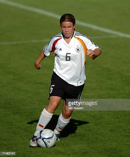 Meike Weber of Germany in action during the Women's U19 European Championship Final Round match between Germany and Belgium at Stadium of FC...