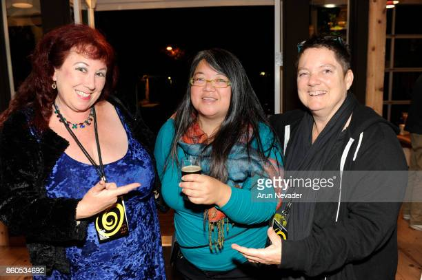 Meilin Obinata appears with filmmakers Annie Sprinkle and Beth Stephens at the Santa Cruz Film Festival Opening Night Party at Oasis on October 11...