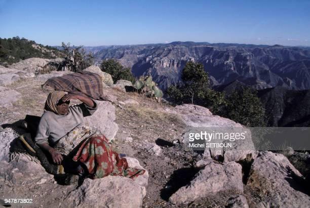 MEIndienne Tarahumara dans la région de Baranca del Cobre, dans la Sierra Madre, au Mexique, en avril 1987.