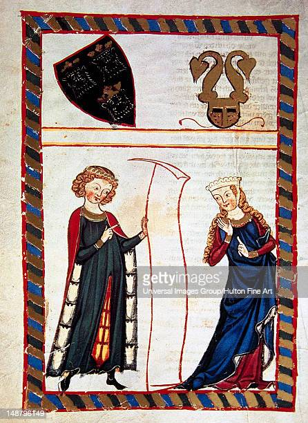Meinloch Von Sevelingen ministerial Swabian read a verse from the parchment to his lady who listen with caution Fol 120v Codex Manesse by Rudiger...