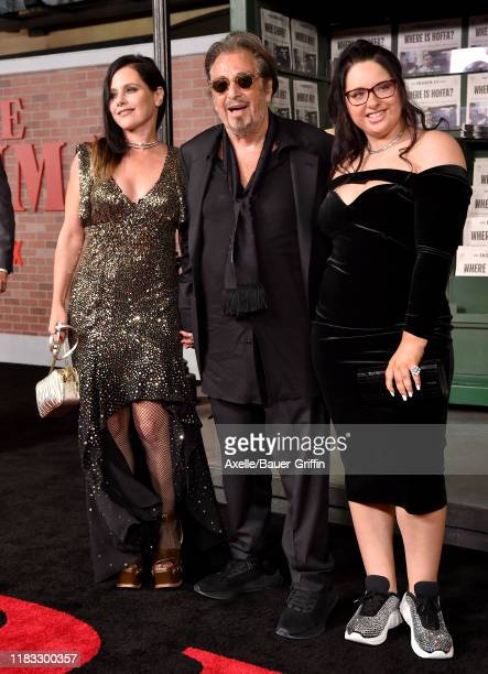 Meital Dohan Al Pacino and Olivia Pacino attend the Premiere of Netflix's The Irishman at TCL Chinese Theatre on October 24 2019 in Hollywood...