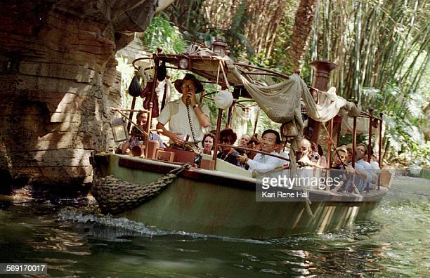 "Jungle.boat2.KH.7/8/94.Skippers on the Jungle Cruise in Disneyland have added some updated jokes to their routine. ""The jokes are so corny,"" said one..."