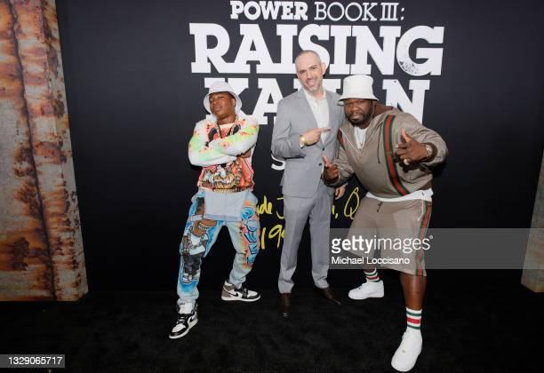 Mekai Curtis, Sascha Penn and 50 Cent attend 'Power Book III: Raising Kanan' global premiere event and screening at Hammerstein Ballroom on July 15,...