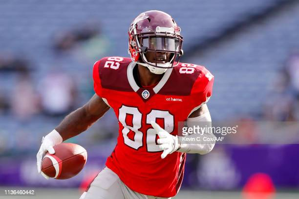 Mekale McKay of the San Antonio Commanders makes a reception against the Atlanta Legends during the second half in the Alliance of American Football...