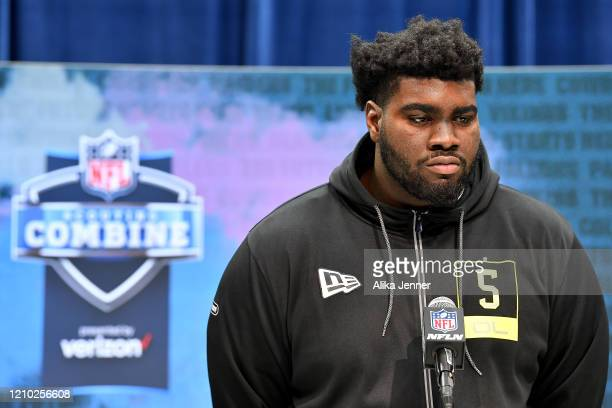 Mekhi Becton #OL05 of Louisville interviews during the second day of the 2020 NFL Scouting Combine at Lucas Oil Stadium on February 26 2020 in...