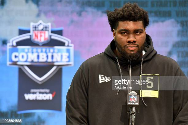 Mekhi Becton #OL05 of the Louisville interviews during the second day of the 2020 NFL Scouting Combine at Lucas Oil Stadium on February 26 2020 in...