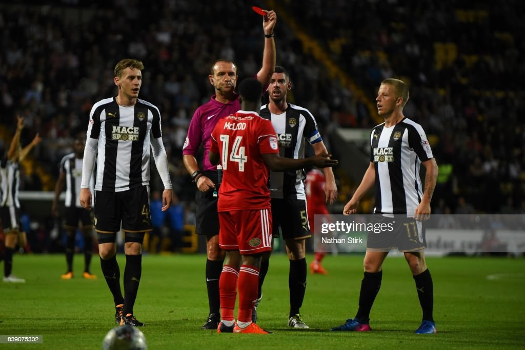 Mekhi Leacock-McLeod of Accrington Stanley is sent off during the Sky Bet League Two match between Notts County and Accrington Stanley at Meadow Lane on August 25, 2017 in Nottingham, England.